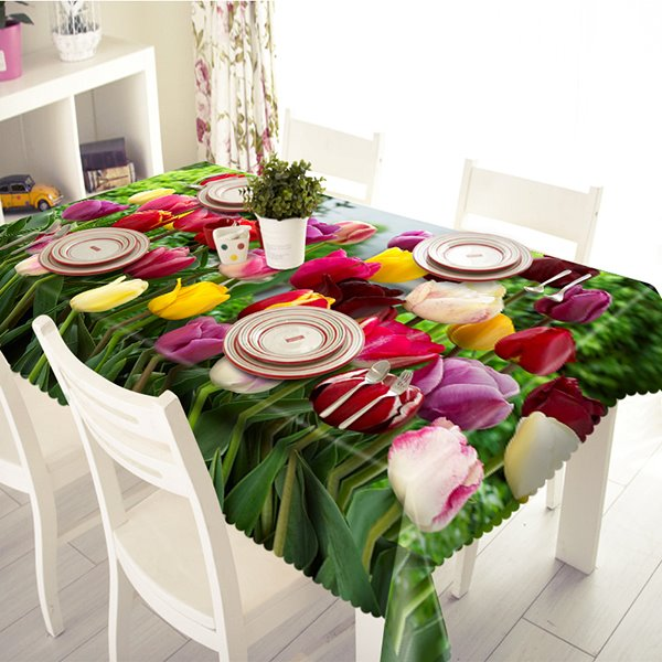Colorful Tulip Pattern Polyester 3D Tablecloth