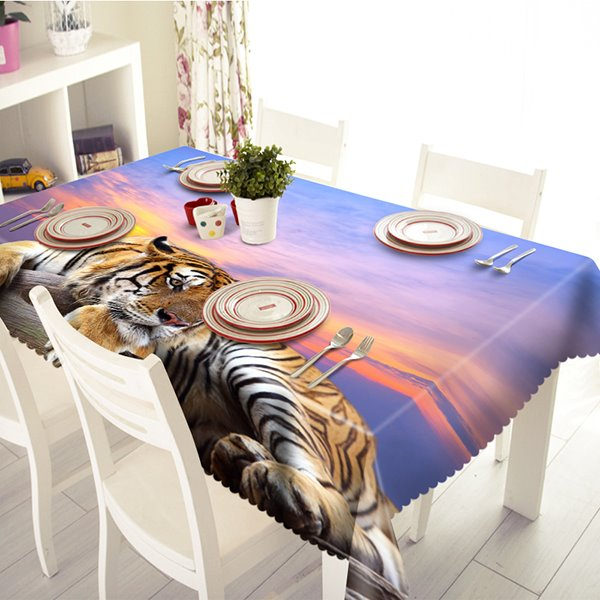 Leisurely Polyester Tiger Pattern 3D Tablecloth