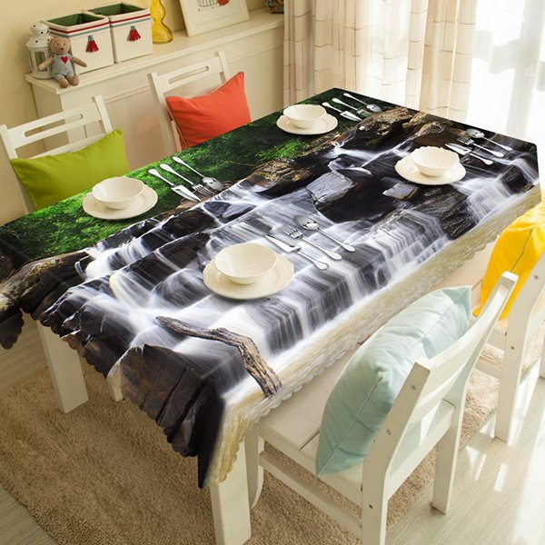Natural Waterfall Scenery Pattern Design Dining Room Decoration 3D Tablecloth