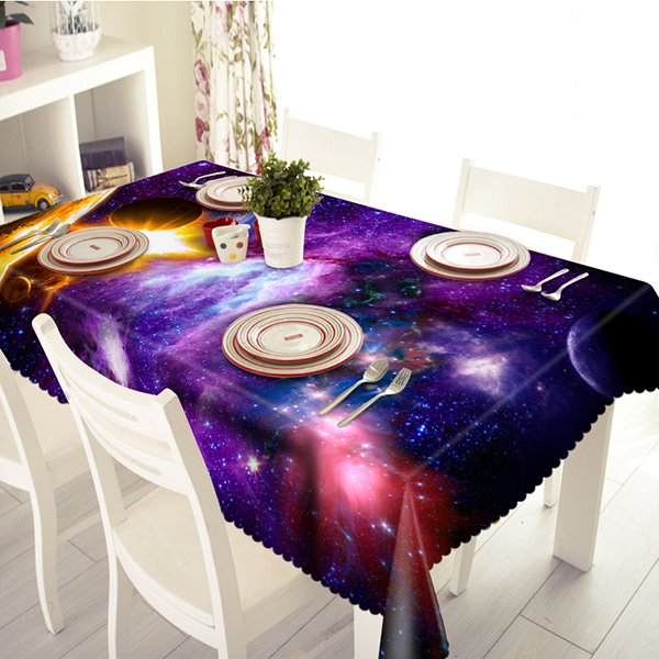 Creative Purple Galaxy Pattern 3D Tablecloth