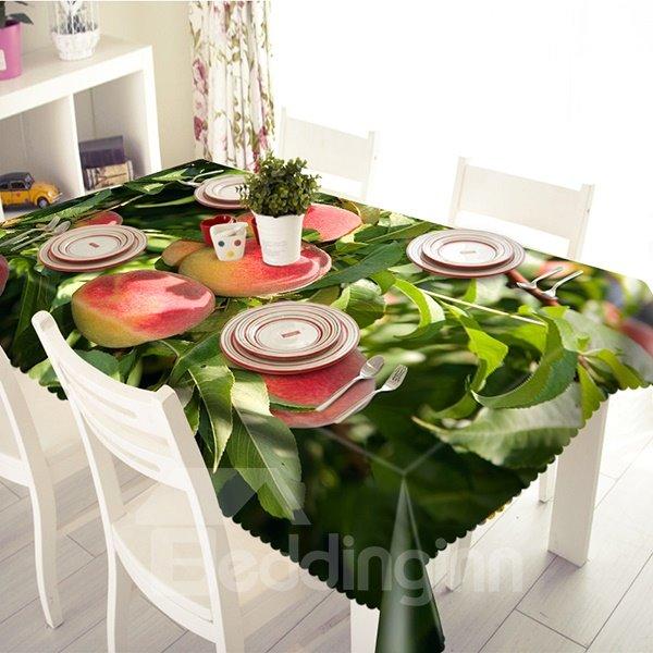 Vivid Peach Pattern Polyester 3D Tablecloth