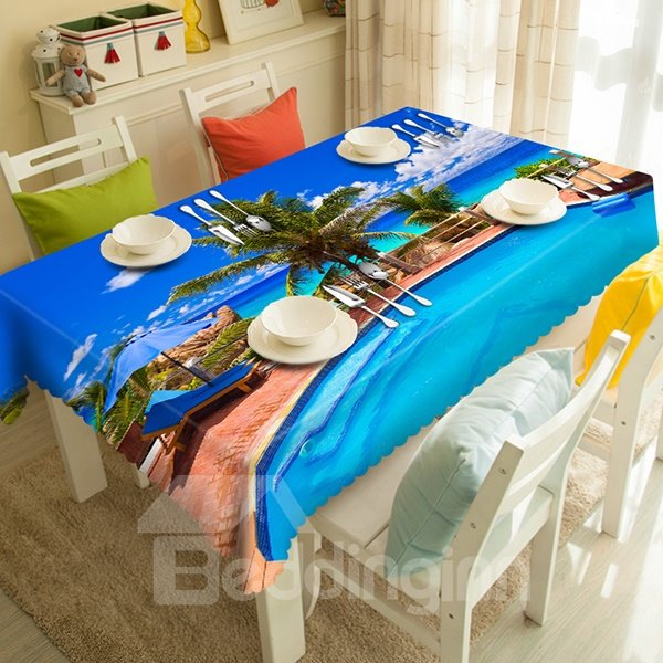 Sky Blue Seaside Swimming Pool Pattern 3D Tablecloth