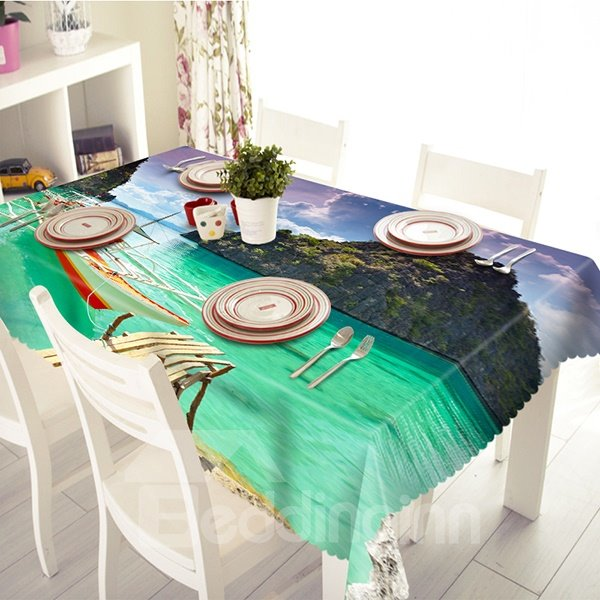 Fashion Mountain and Ocean Pattern 3D Tablecloth