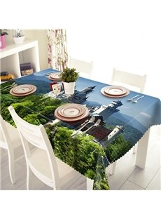 Creative Polyester Castle Pattern 3D Tablecloth