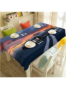 Cool Sunset Road and Car Pattern 3D Tablecloth