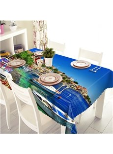 Dark Blue Ocean and Boat Pattern 3D Tablecloth