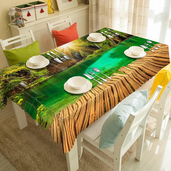 Ardent Polyester Lake Scenery 3D Tablecloth