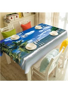 Wonderful Polyester Seaside Scenery Pattern 3D Tablecloth