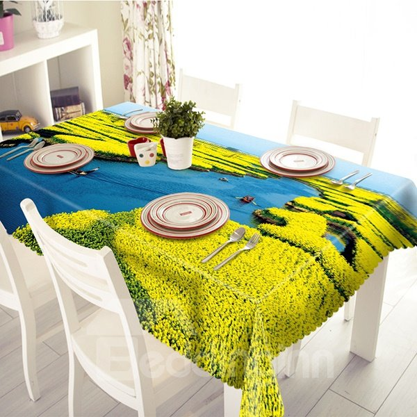 Beautiful Flowers Sea and Brook Pattern Tablecloth