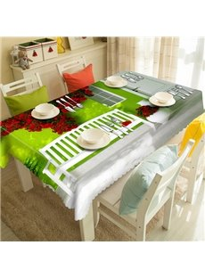 Green Polyester House and Red Flower Pattern 3D Tablecloth
