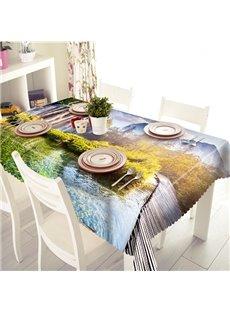 Pleasant Bridge and Landscape Pattern 3D Tablecloth