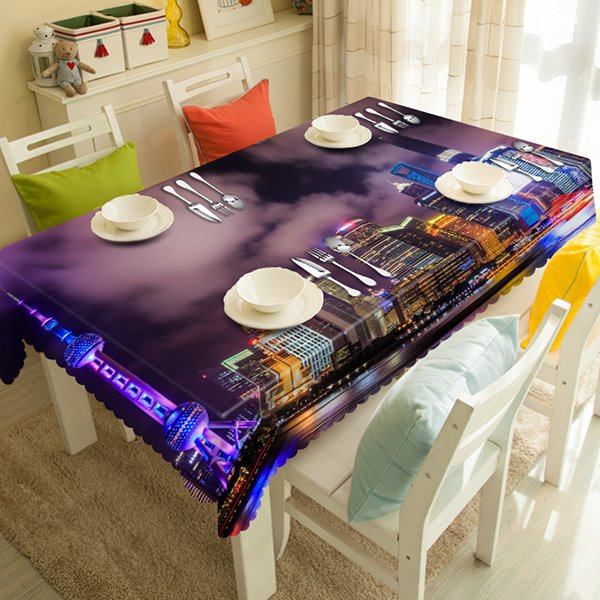 Purple City Night View Pattern 3D Tablecloth