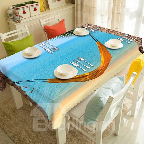 Leisurely Seaside Hammock Scenery 3D Tablecloth