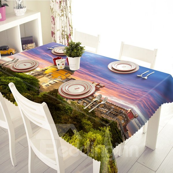 Decorative Sunset Glow and Castle Pattern 3D Tablecloth
