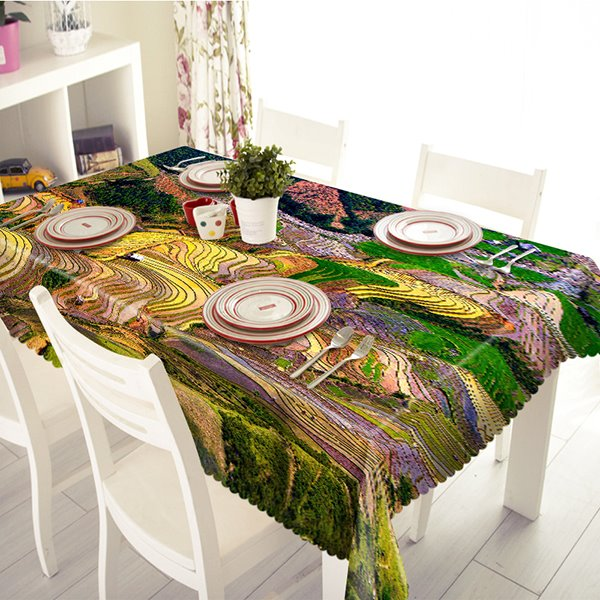 Wonderful Polyester Hill Scenery Pattern Tablecloth