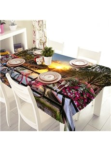 Gorgeous Countryside Sunset River Scenery Pattern 3D Tablecloth