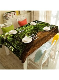 Green Shady Tree and Path Pattern 3D Tablecloth