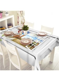 Simple Style Building Pattern 3D Tablecloth