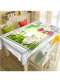 Cool and Refreshing Bamboo and Flower Pattern 3D Tablecloth