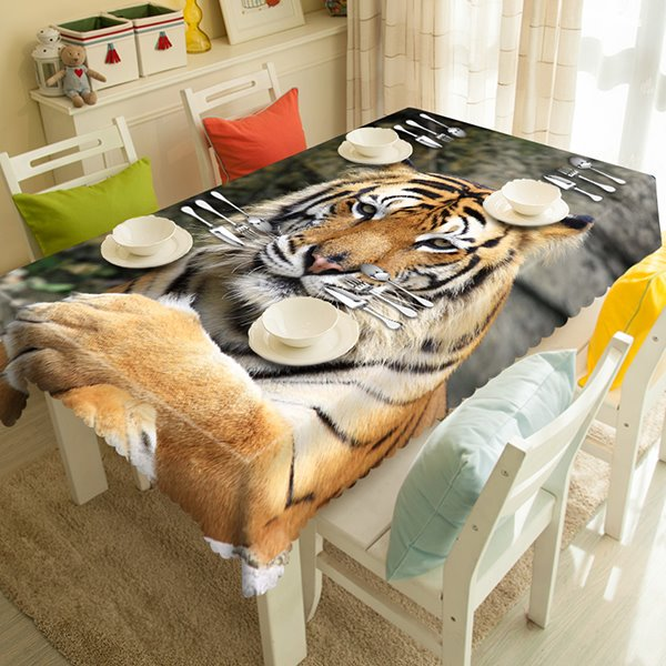 Vivid Polyester Tiger Pattern 3D Tablecloth