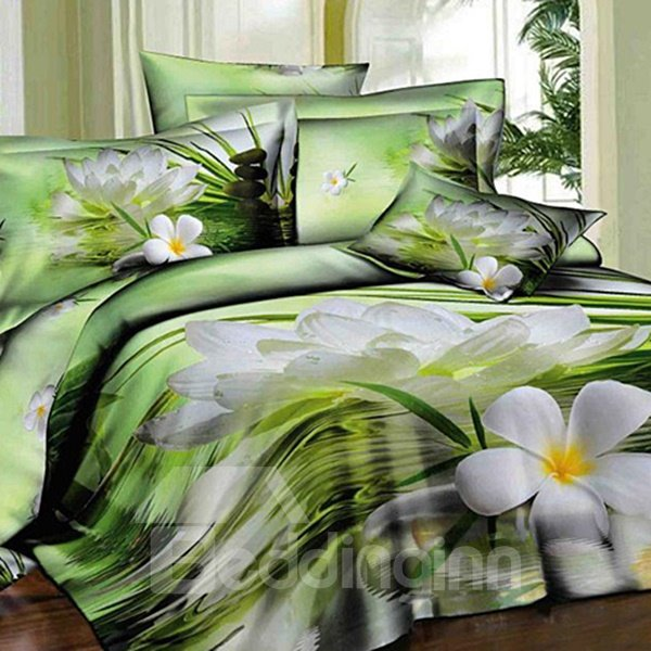 Fresh Green 	Pretty White Flower on Water Print 3D Fitted Sheet