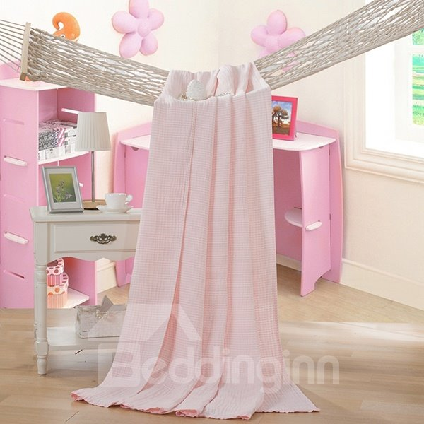 Lightweight Super Soft Solid Pink Cotton Quilt