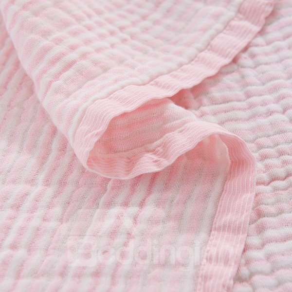 Lightweight Super Soft Solid Pink Cotton Quilt