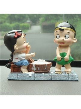 Lovely Innocence Delight And Interesting Two Cartoon Characters Car Creative Decor
