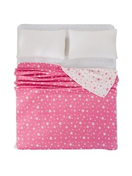 Popular Lucky Stars Printing Pink Cotton Quilt