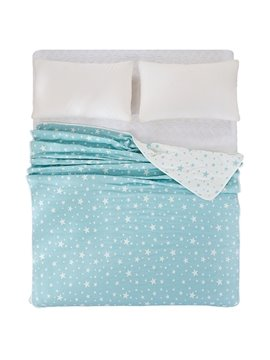 Stylish Lush Star Print Blue Cotton Quilt
