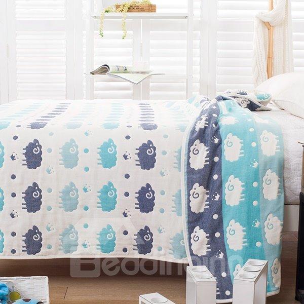 Adorable Cartoon Sheep Print Lightweight Cotton Quilt