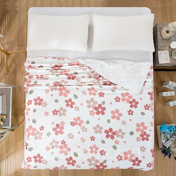 Delicate Skin Care Red Floret Print Quilt