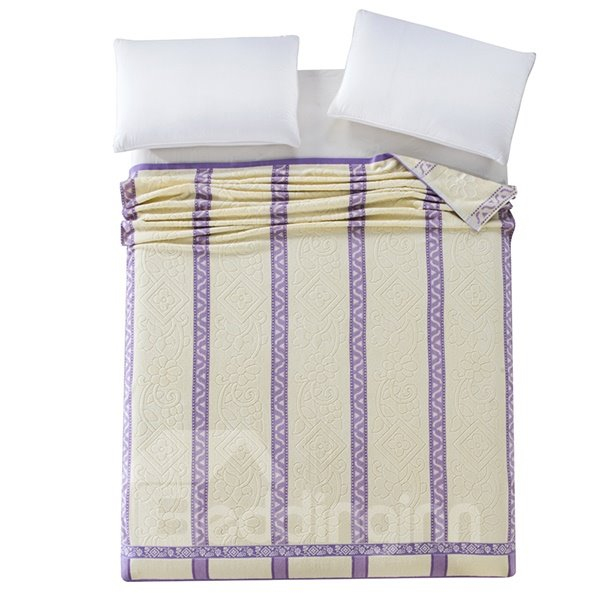 Graceful Purple and Beige Jacquard Cotton Quilt