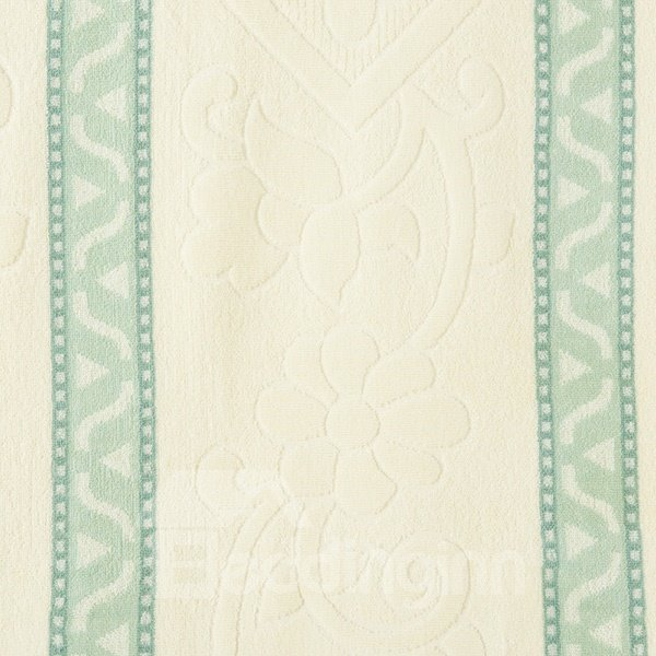 Fresh Green and Beige Jacquard Cotton Quilt