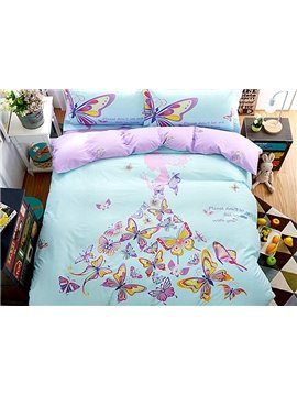 Charming Butterfly Fairy Print 4-Piece Cotton Duvet Cover Sets