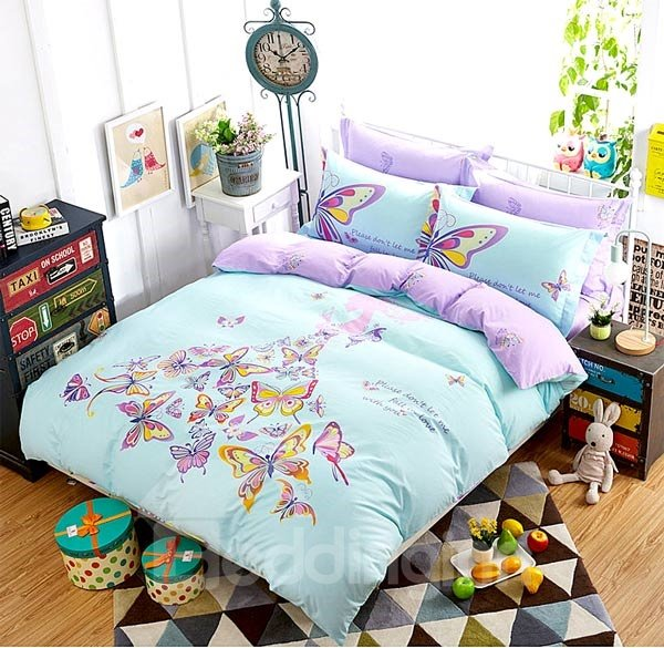 Charming Butterfly Fairy Print 4-Piece Cotton Duvet Cover Sets