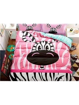 Lovely Little Zebra Print 4-Piece Cotton Duvet Cover Sets