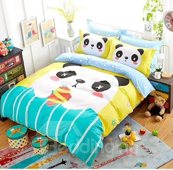 Cute Panda and Fruit Print 4-Piece Cotton Duvet Cover Sets