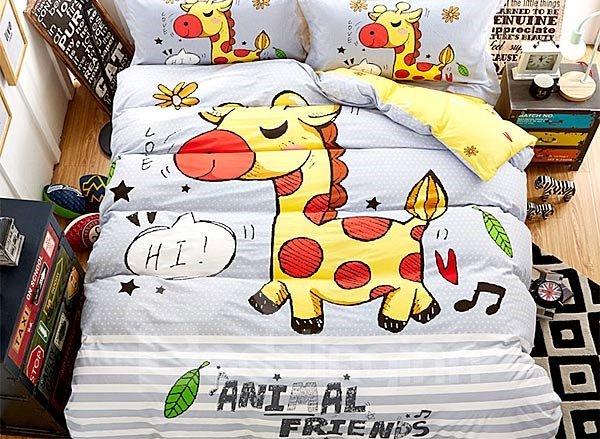 Happy Yellow Horse Print 4-Piece Cotton Duvet Cover Sets
