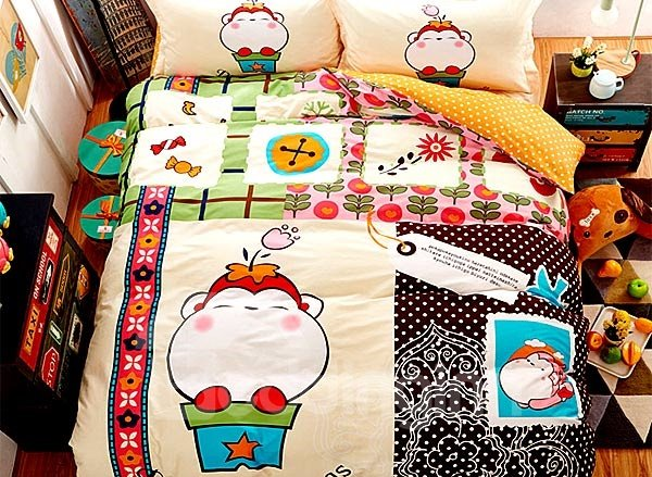 Funny Monkey Print 4-Piece Cotton Duvet Cover Sets