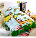 Animals and Rainbow Printed Cotton Full Size 4-Piece Duvet Covers/Bedding Sets