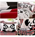 Super Cute Fat Panda Print 4-Piece Cotton Duvet Cover Sets