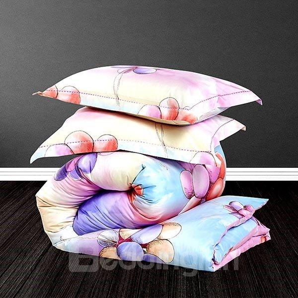 Bunch of Balloon Print Satin Cotton 4-Piece Duvet Cover Sets
