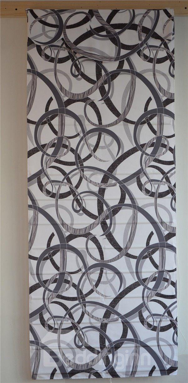 Decorative Stick Figures Ribbon Print Roman Shades