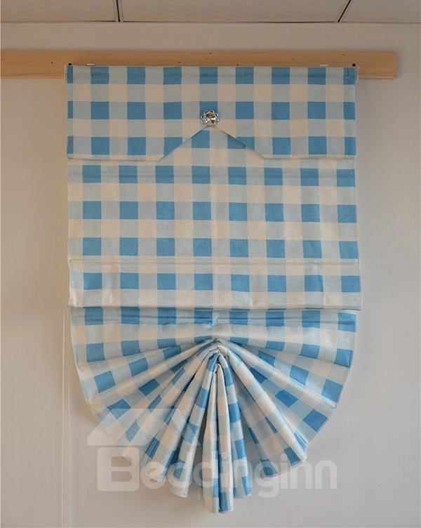 Mediterranean Blue and White Blocks Print Roman Shades