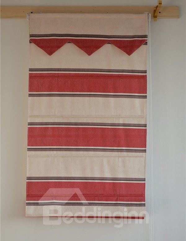 Modern Decor Color Block Red and White Blending Roman Shades