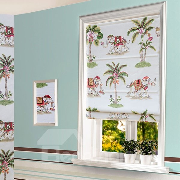 Cute Hand Painted Elephant and Coconut Tree Roman Shades
