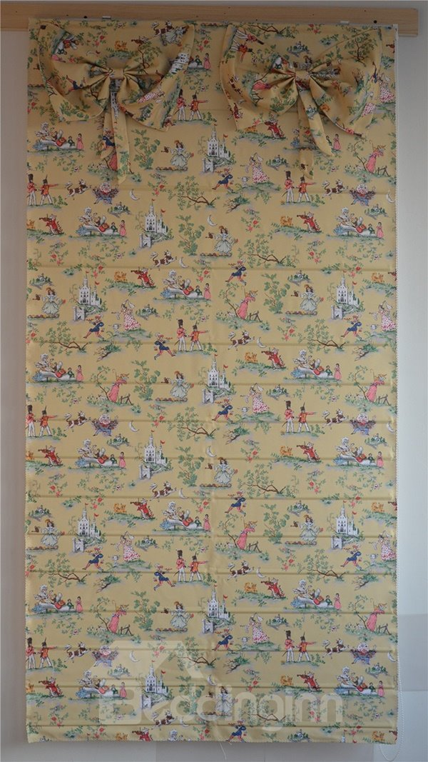 Lovely Fairy Tales Print Roman Shades with Bow Valance