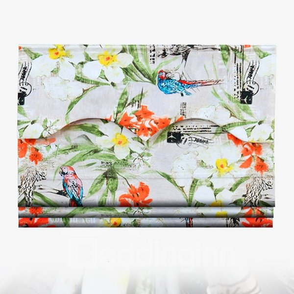 Country Style Colored Birds and Flowers Decor Roman Shades