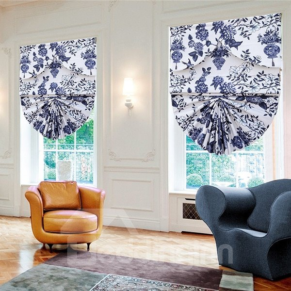 Home Decor Peacock Blue Flower and Vase Print Roman Shades